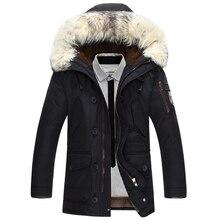 Мужская куртка на белом утином пуху, теплая Толстая куртка с меховым воротником и капюшоном, зимняя куртка, 90% пуха, 2019