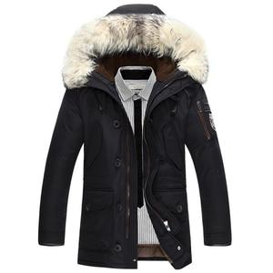 Image 1 - Nova marca jaqueta de inverno dos homens 90% pato branco para baixo jaqueta grossa manter quente jaqueta de pele gola com capuz para baixo jaquetas casaco masculino