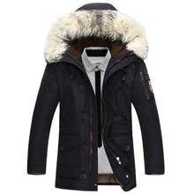 Nowa marka kurtka zimowa mężczyźni 90% biała kurtka puchowa gruby utrzymać ciepło mężczyźni dół kurtki futro kołnierz puchowe kurtki z kapturem płaszcz męski