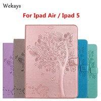 IPad Hava Kılıf Için Lüks Karikatür Kedi ve Ağaç Wekays Deri Çevirme Apple iPad Hava ipad 5 Için kılıf Standı Tam Kapak Çapa Funda
