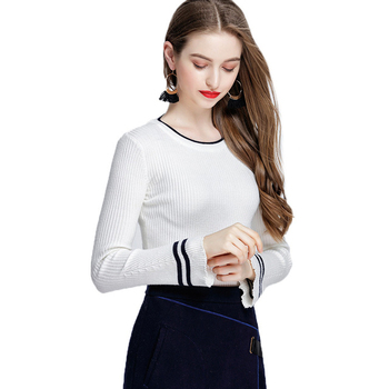 New Autumn Spring Women Knitting Full Flare Sleeve O-neck Striped Sweaters Pullovers Girls Knitted Tops Knitwear Clothing Woman goplus women s knitted sweater o neck autumn pullovers loose flare sleeve colorful striped pullover coat kleding vrouwen c9503