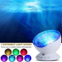Ocean Wave Projector,12 LED with Remote Control Undersea Projector Lamp,7Color Changing Music Player Night Light for Kids Adults