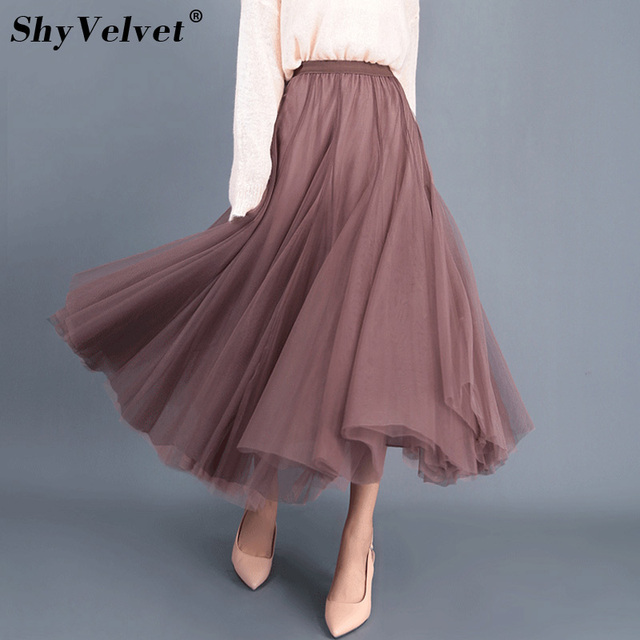 9c0ad29e21 Aliexpress.com : Buy Autumn Winter Tulle Skirt Pleated Long Maxi Skirts  Womens Jupe Grey Brown Pink Black Elegant High Waist Tutu Adult Mesh Skirt  from ...