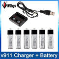 3.7V 200MaH New Version Lipo Battery 6Pcs +1 Set  Charger With USB Cable For WLtoys V911 V911-1 V911-2 2.4G 4Ch RC Helicopter