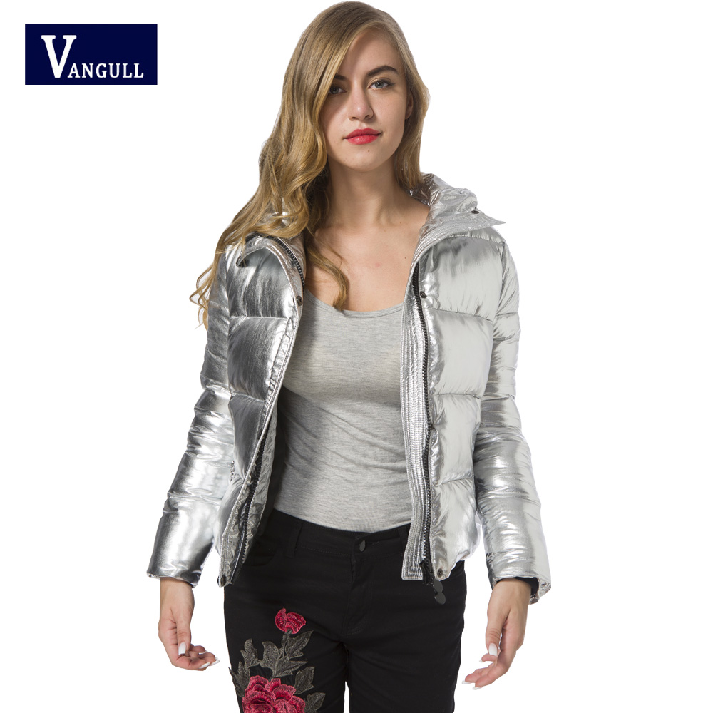 2018 Winter hot explosion models of female cotton pure bright Hooded Coat all-match silver white metallic Biker Jacket