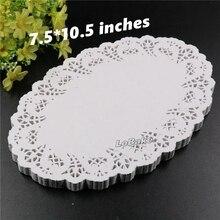 (160 unids/pack) 7,5*10,5 pulgadas forma ovalada papel doilies doyleys posavasos vintage artesanía boda decoración de mesa de Navidad