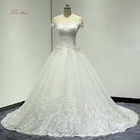 Dream Angel Sexy Boat Neck Short Sleeve A Line Wedding Dresses 2018 Applique Beaded Tulle Bride