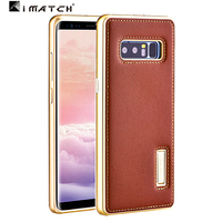 For Samsung Note 8 Case Metal Aluminum Genuine Leather Back Cover Case For Samsung Galaxy Note