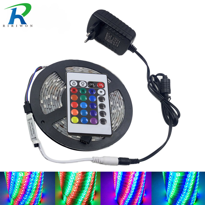 LED Strip 5M RGB LED Light RGB LED Stripe Flexible DC12V Impermeable SMD2835 3528 Cinta de diodo con controlador + adaptador