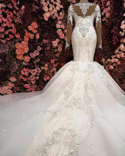 Luxury Mermaid Long Sleeve Wedding Dresses 2021 robe de mariee Beaded Lace Wedding Gowns Handmade Sweep Train Bride Dress 3
