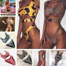 New Leopard Swimsuit Bikini Sexy Thong Hollow Out Women Bikinis Summer Beachwear Two Piece Bathing Suit Brazilian(China)