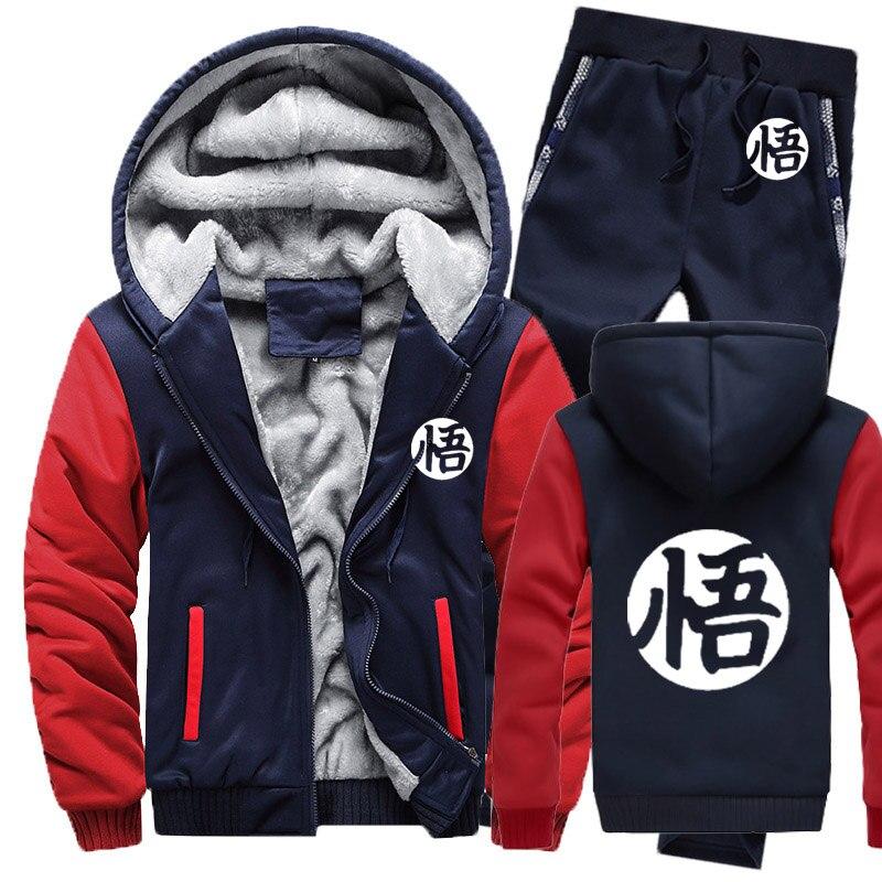 Winter Fleece Thicken Tracksuit Anime Dragon Ball Z Goku Cartoon Print Hoodies Men Suit Warm Sweatshirts Jacket+Pants 2Pcs Sets