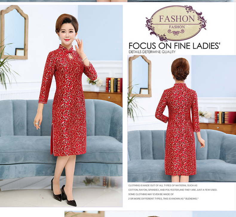 Woman Slim Fit Dresses Mandarin Collar Qipao Dress Women Long Sleeve Side Slit Gown Robe Femme Ethnical One Picee Womans Oriental Dresses (5)