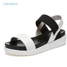 Новые Лидер продаж женские босоножки Летняя женская обувь 2017 туфли на плоской подошве с открытым носком римские сандалии Женские босоножки Sandalias Mujer sandalias