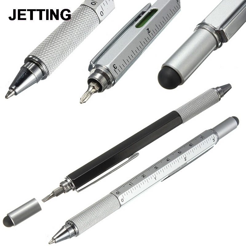 1PC 6 In 1 Touch Ballpoint Stylus Pen With Spirit Level Ruler Screwdriver Tool Office School Supplies Best Gifts 7 in 1 tech multitool pen with ruler bottle opener phone stand ballpoint pen stylus pen and flat and phillips screwdriver bit