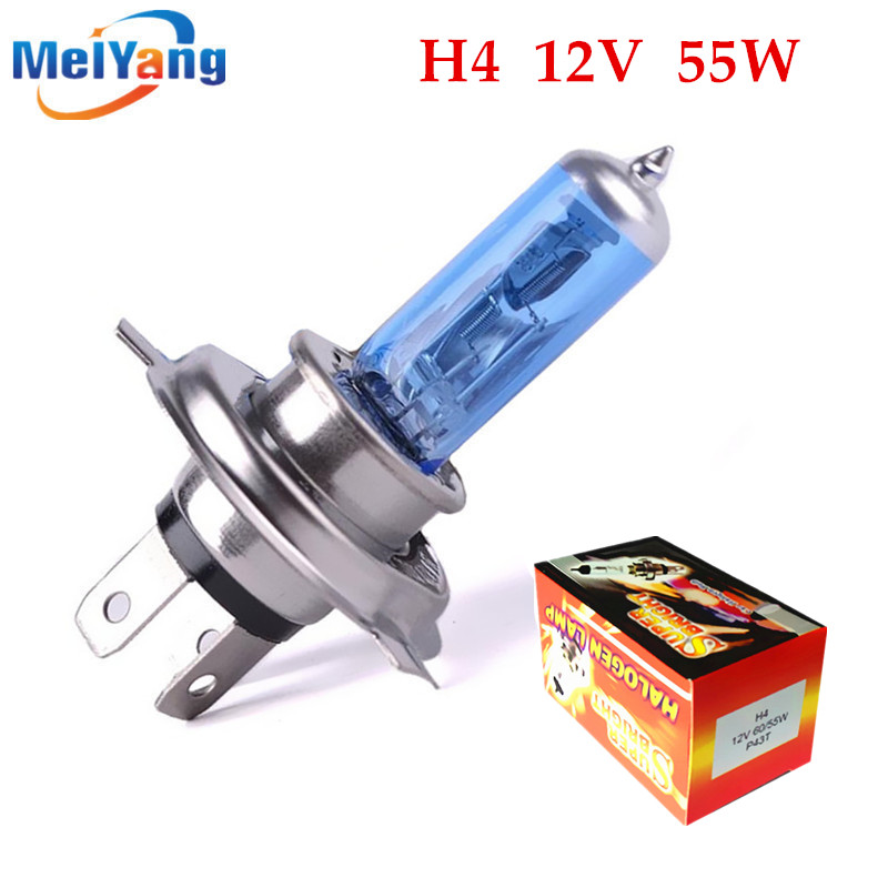 H4 55W 12V Super White Fog Lights Halogen Bulb High Power Car Headlight Lamp Car Light Source parking Head auto 2pcs halogen bulb h7 55w super xenon white fog lights h7 car headlight lamp high power car light source parking 6000k auto