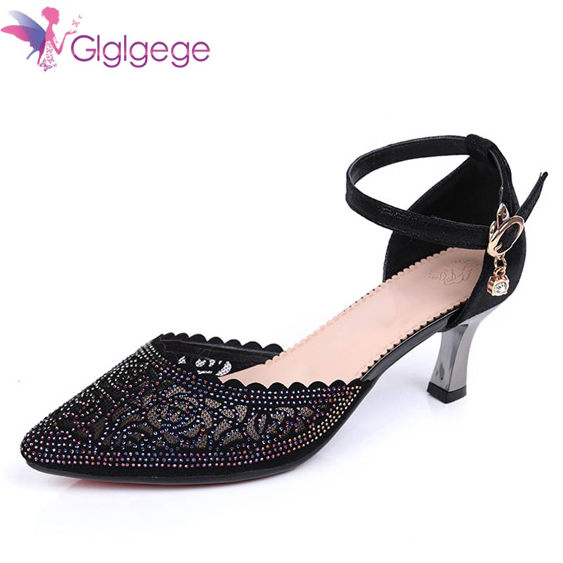 Glglgege 2018 Spring And Summer New Leather Mesh Female Large Size 42 High Heel Rhinestone Hollow Shoes Breathable Lace Pumps new women sandals for spring summer sexy black hollow mesh high heel pumps breathable comfotable lace up female casual shoes