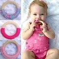 1 Pcs Segurança Rodada Madeira Natural Anel de Dentição Do Bebê Treinamento Chewie Bonito Crochet Brinquedo Do Bebê Mordedor