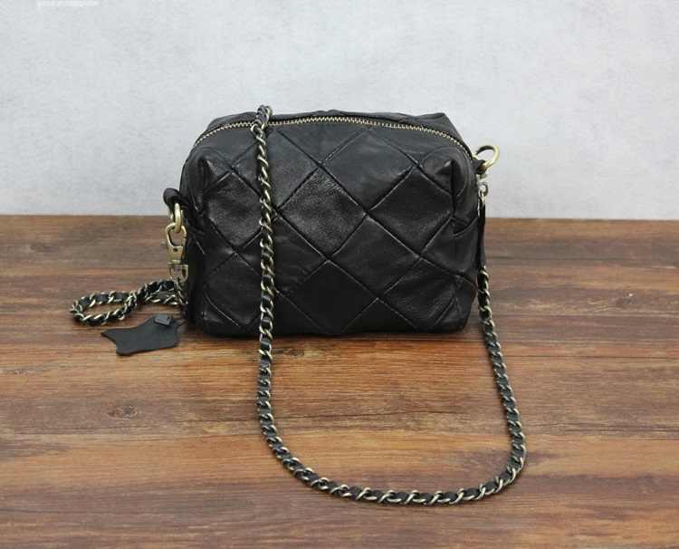 Kulit Domba Patchwork Mini Messenger Bag Kulit Asli Chain Tas Bahu untuk Wanita Tas Selempang Bolsas Kecil Tas Wanita