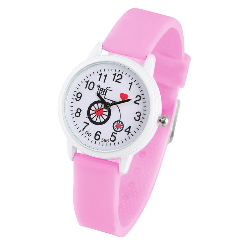 Cute Bicycle Patterns Dial Watch For Children Concise Pink Silicone Quartz Watch Movement For Child Minimalist Style Wristwatch
