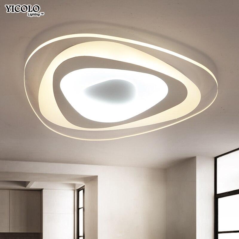 Luces de techo triangulares ultrafinas lámparas para sala de estar dormitorio lustres de sala hogar Dec LED lámpara de techo