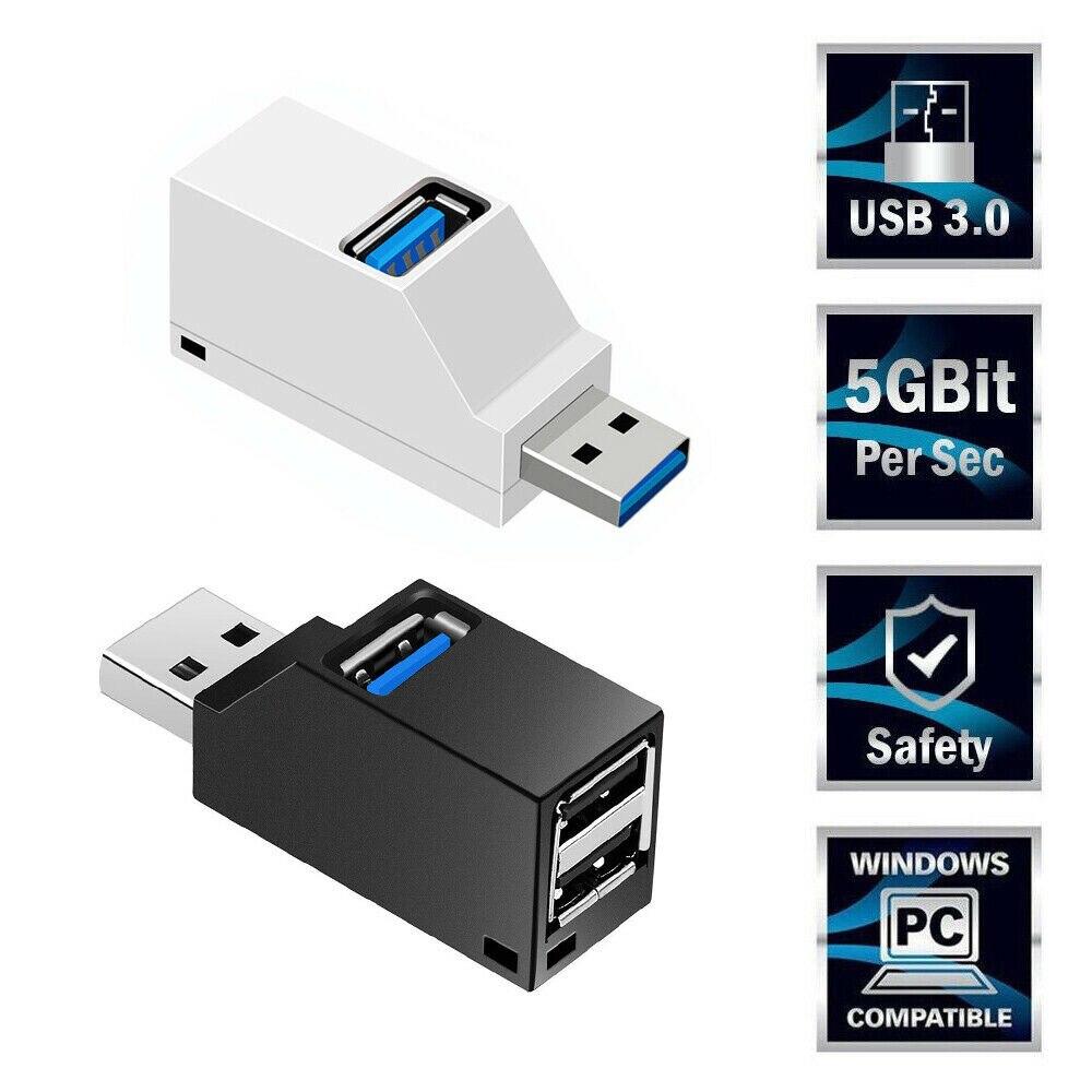 3-портовый мобильный телефон USB-концентратор, мини USB 2,0 3,0 высокоскоростной концентратор, разветвитель для ноутбука, ПК, U-диск, картридер для ...
