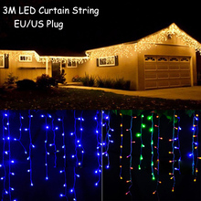 Holiday Outdoor 3.5M LED Curtain String Lights 0.3-0.5m AC110 / 220V Christmas Xmas Wedding Party Decoration Fairy Lighting