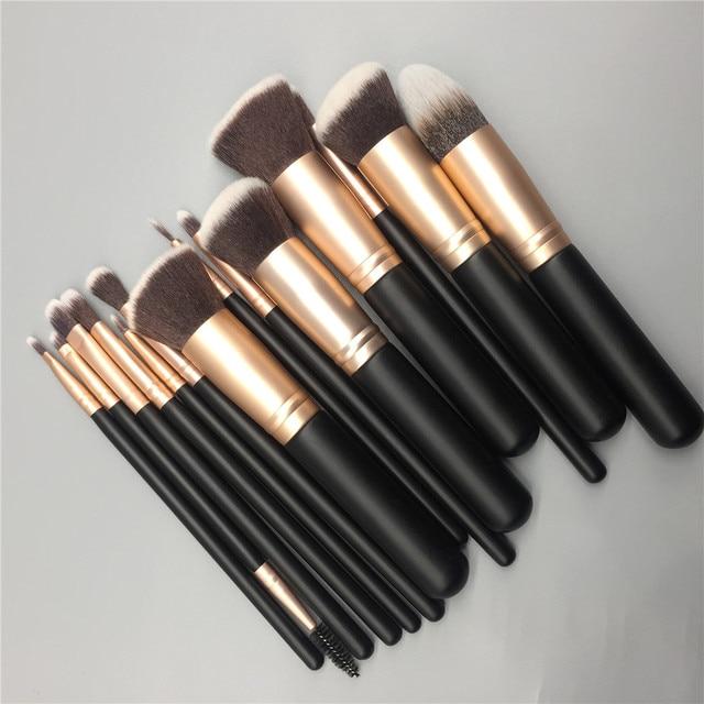 14pcs makeup brushes set for foundation powder blusher lip eyebrow eyeshadow eyeliner brush cosmetic tool 2