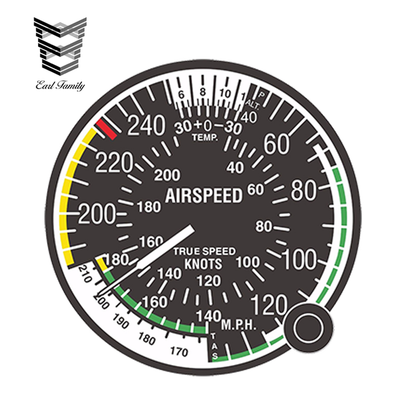 EARLFAMILY 13cm x 13cm Car Styling Decal Airspeed Indicator FAA Air Force for Bumper <font><b>Laptop</b></font> <font><b>Locker</b></font> Tablet Funny Car Sticker image