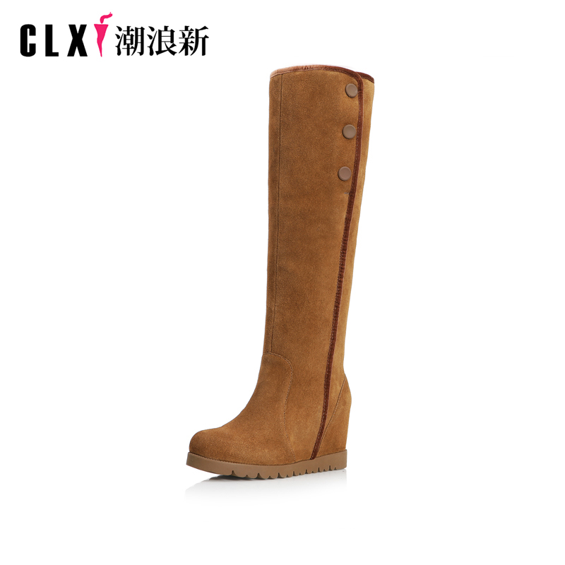 Discount Women Knee High Snow Boots Keep Warm Fur Shoes Thick Flat Heels Platform Shoes Casual Dress Slip On Soft Winter Boots winter warm snow boots cotton shoes flat heels knee high boots women boots wholesale high quality