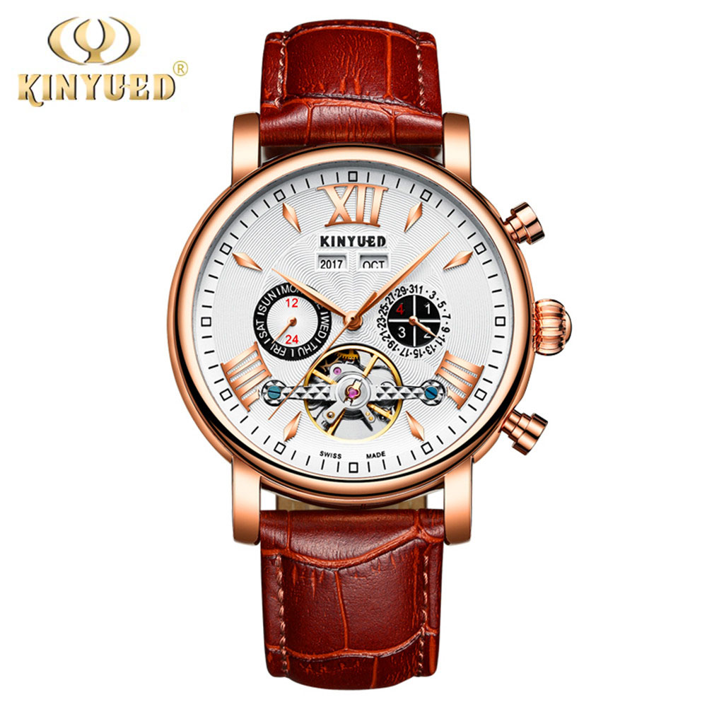 KINYUED Skeleton Tourbillon Mechanical Watch Men Automatic Classic Rose Gold Leather Mechanical Wrist Watches Reloj Hombre 2017 new kinyued skeleton tourbillon mechanical watch automatic men classic rose gold leather mechanical wrist watches reloj hombre