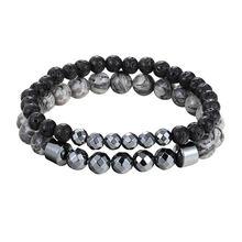 Мужской браслет с черными бусинами Лава вулканический камень 6 мм 8 мм мужской костюм парный браслет Мандала браслет с черными бусинами AS416