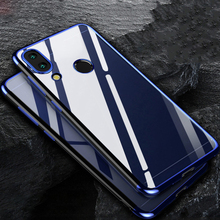 Phone Case for Redmi Note 7 Clear Transparent Bumper TPU Silicone Shockproof Plating Xiaomi Pro