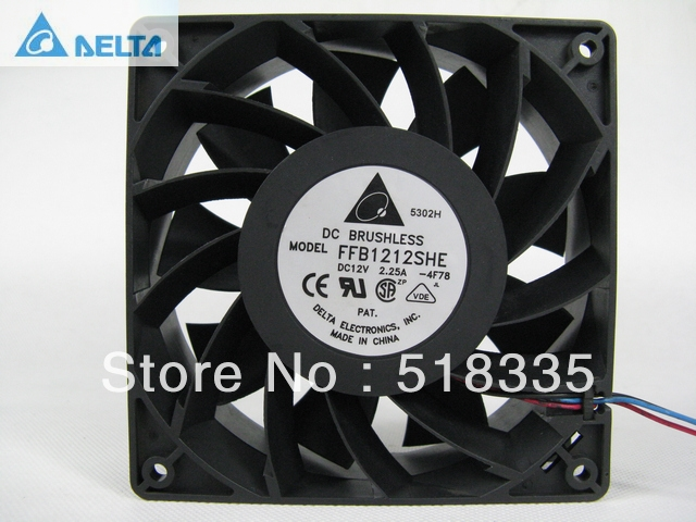 Delta FFB1212SHE 12cm 120MM 120*120*38MM 12V 2.25A DC cooling case server fan delta afb1212hhe 12038 12cm 120 120 38mm 4 line pwm intelligent temperature control 12v 0 7a
