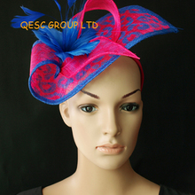 Wholesale Elegant NEW 13 colours arrival navy blue sinamay Fascinator hat  for kentucky derby wedding party b00e67cefcd8