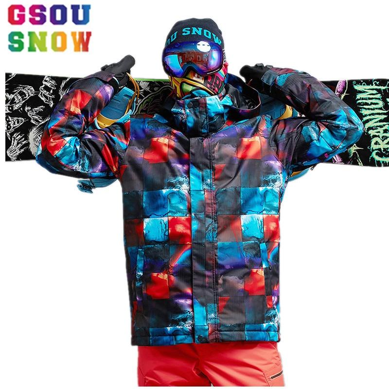 GSOU SNOW Brand Ski Jacket Men Mountain Skiing Suits Waterproof Snowboard Jacket Winter Outdoor Sport Clothing Male Snow Coat
