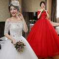 2016 New Style High-end Half Sleeves Boat Neck Red Wedding Dress Princess Korean Style Bridal Dresses  H79