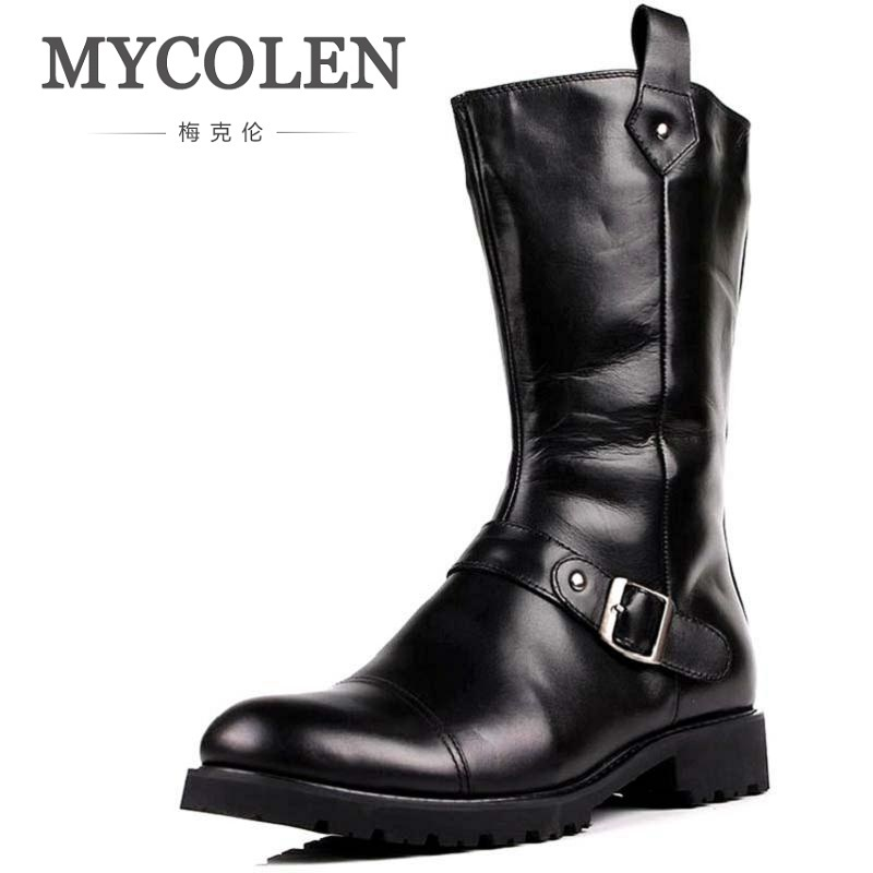 MYCOLEN Men Shoes Genuine Leather High Top Boots Flats British Style Height Increase Ankle Men Shoes Pointed Toe Brand Boots