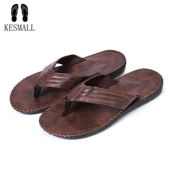KESMALL Leather Men Beach Slippers Fashion Flip Flops With Soft Sole Trendy Breathable Easy To Match Men Summer Non-slip Shoes