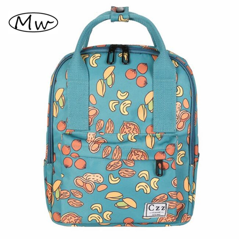 2017 Fashion Nut Printing Backpack Women Small Canvas Tote Backpack School Bags For Teenager Girls Students Travel Shoulder Bag