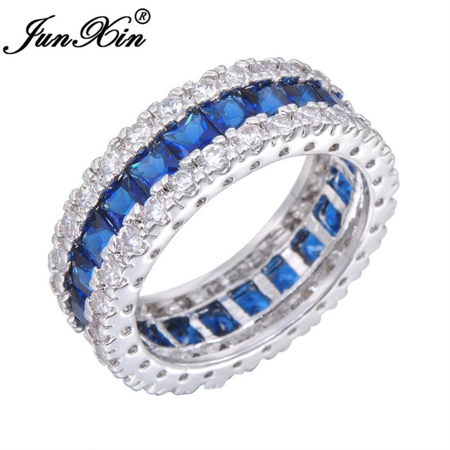 JUNXIN Blue Zircon Women Men Finger Ring White Gold Filled Wedding Party Engagement Rings Jewelry Bijoux RW0411