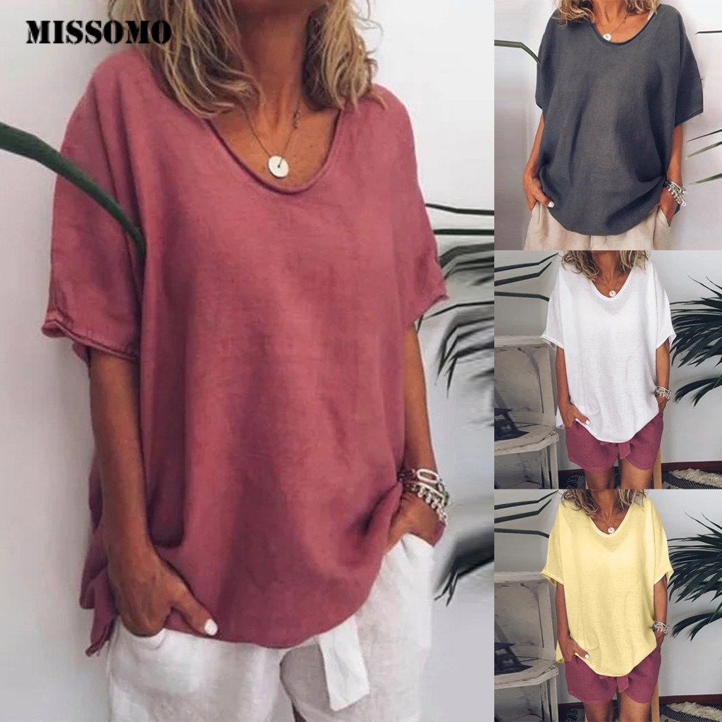 MISSOMO 5XL Women Tops Casual Summer T Shirt Women Short Sleeves Plus Size T-Shirt Femme Clothes Women Linen Tshirt Tops 618
