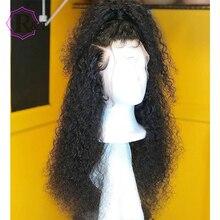 RULINDA kıvırcık dantel ön İnsan saç peruk ile bebek saç 13*4 brezilyalı olmayan Remy saç dantel peruk ön koparıp 130% yoğunluk