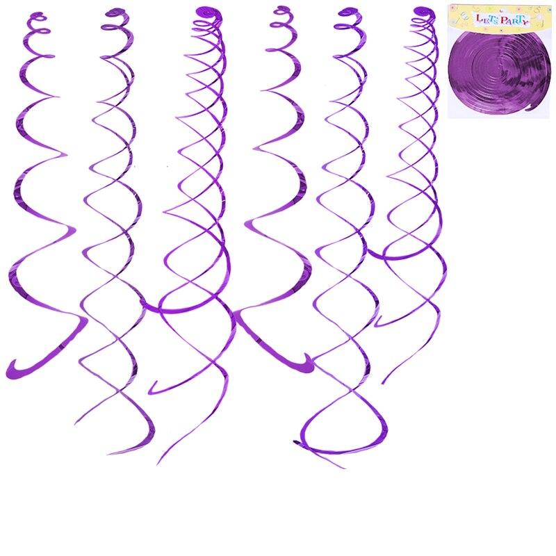 2 sets 12 unids Colgantes Púrpuras Metálicos Brillantes Rizo Remolino Partido Fe
