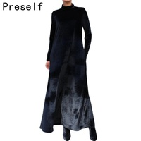 2016 Sexy New Women Elegant Velvet Dresses Turtleneck Loose Oversize Winter Party Cocktail Maxi Long Dress