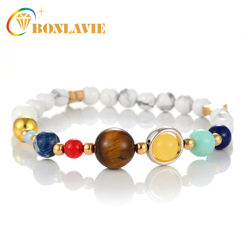 New Universe Galaxy the Eight Planets Solar System Guardian Star Natural Stone Beads Bracelet for Women Man