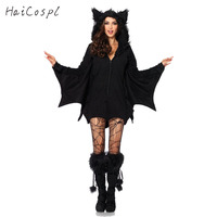 Bat Cosplay Costume For Halloween Women Adult Sexy Black Vampire Jumpsuit Hooded Female Party Fancy With
