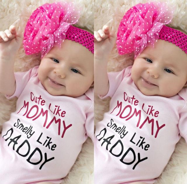 Katoen Pasgeboren Baby Meisjes Roze Romper Jumpsuit Outfits Kleding 0-24M Korte mouw meisje kleding 1