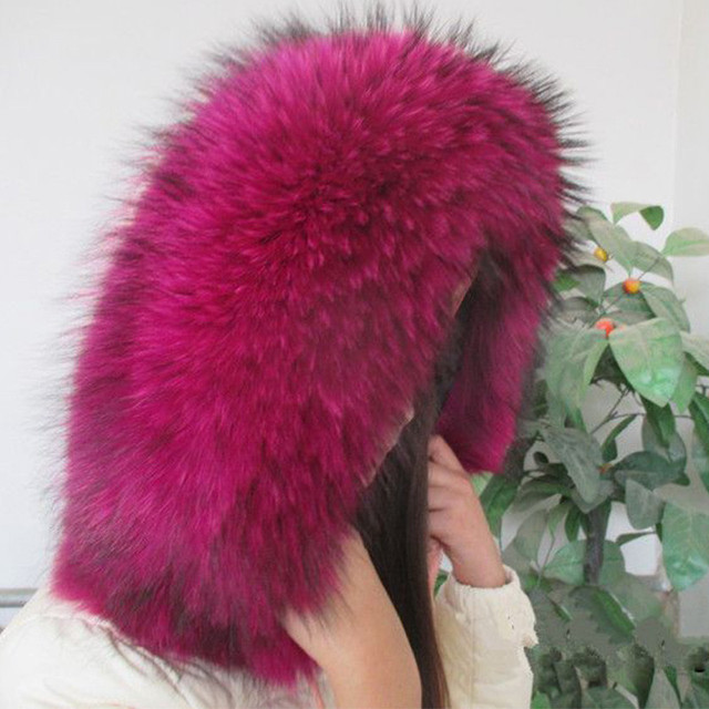2016 Winter 100% Real del mapache cuello de piel, accesorios de vestir Natural de gran mapache Collar de la bufanda envío gratis L #8