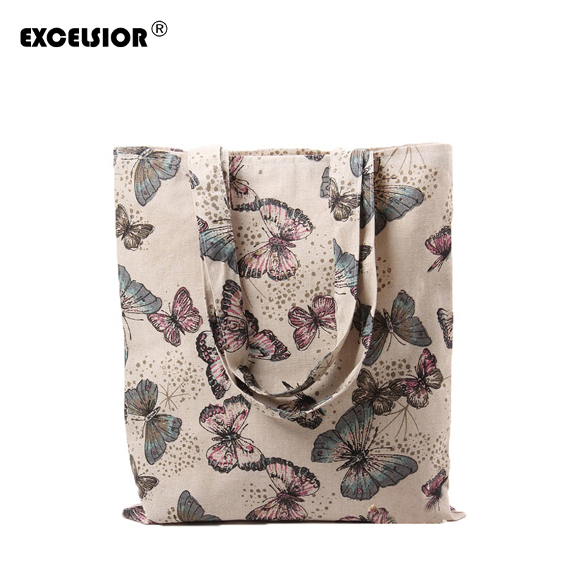 EXCELSIOR 2018 Retro Women Casual Bag Cotton Linen Butterfly Printed Shopping Bags Single Shoulder Handbag Pouch Ladies Tote купить